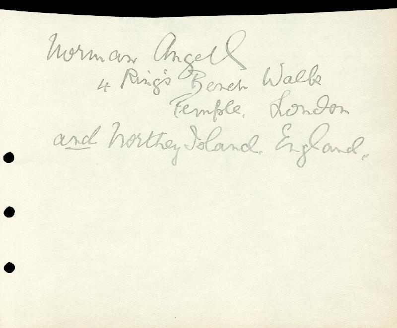 Image 1 for Sir Norman Angell - Autograph - HFSID 73448