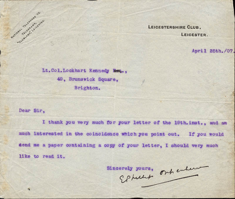 Image 1 for Edward Phillips Oppenheim - Typed Letter Signed 04/25/1907 - HFSID 73568