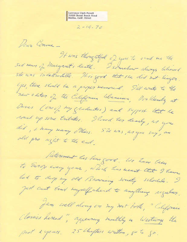 Image 1 for Lawrence Clark Powell - Autograph Letter Signed 02/19/1970 - HFSID 73574