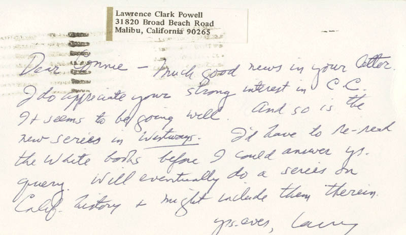 Image 1 for Lawrence Clark Powell - Autograph Letter Signed 09/23/1971 - HFSID 73600