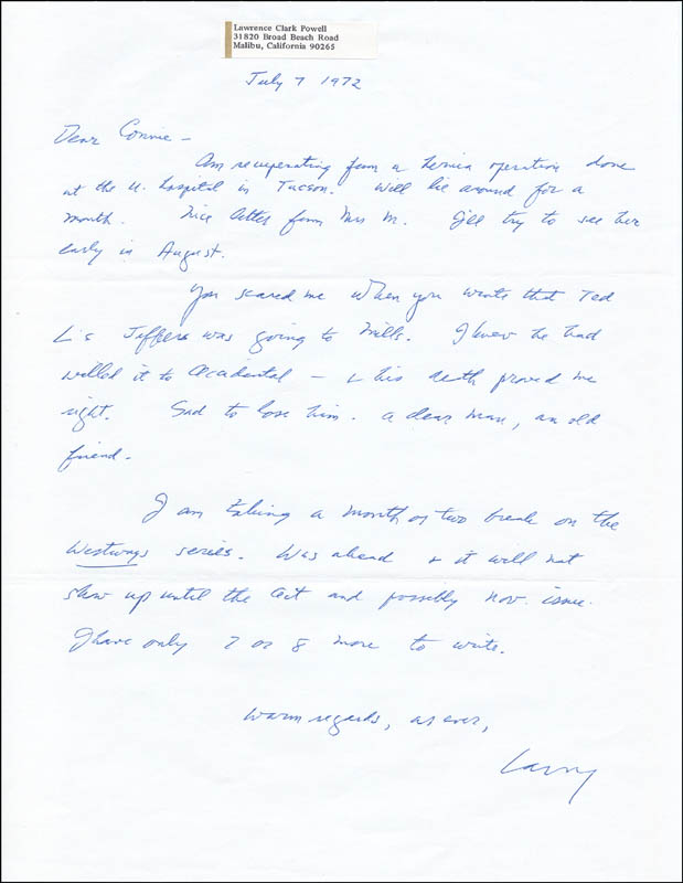 Image 1 for Lawrence Clark Powell - Autograph Letter Signed 07/07/1972 - HFSID 73611