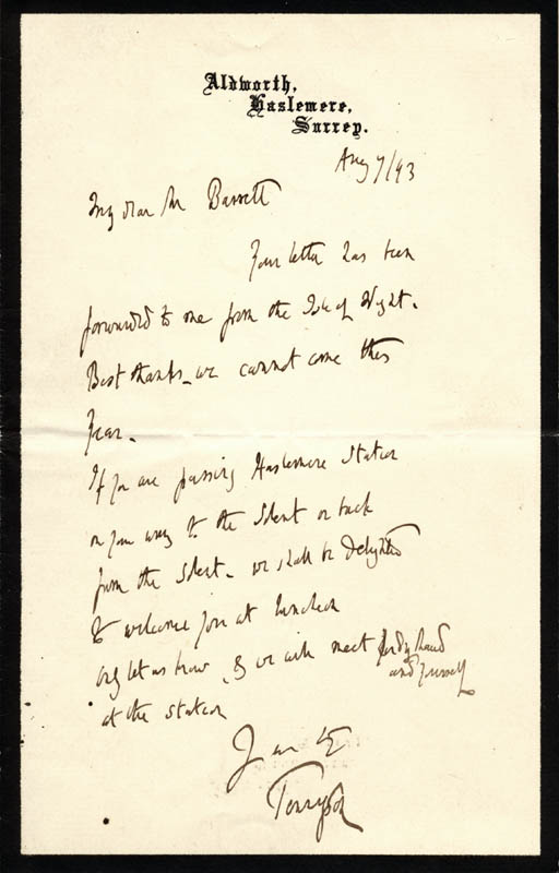 Image 1 for Hallam Tennyson - Autograph Letter Signed 08/07/1893 - HFSID 73630