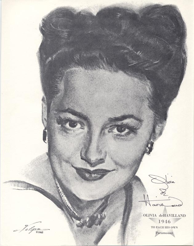 Image 1 for Olivia De Havilland - Illustration Signed Circa 1962 - HFSID 74128
