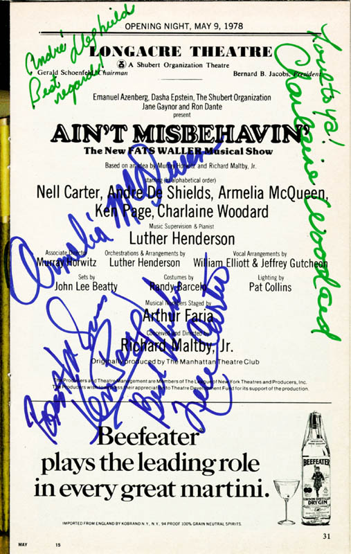 Image 1 for Ain'T Misbehavin' Broadway Cast - Show Bill Signed Circa 1978 with co-signers - HFSID 74347