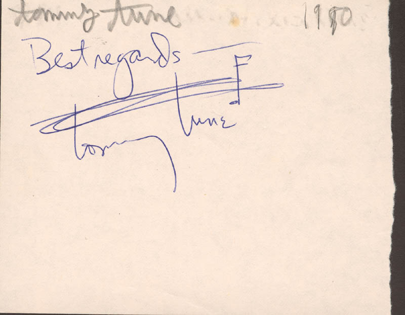 Image 1 for Tommy Tune - Autograph Sentiment Signed Circa 1980 - HFSID 74573
