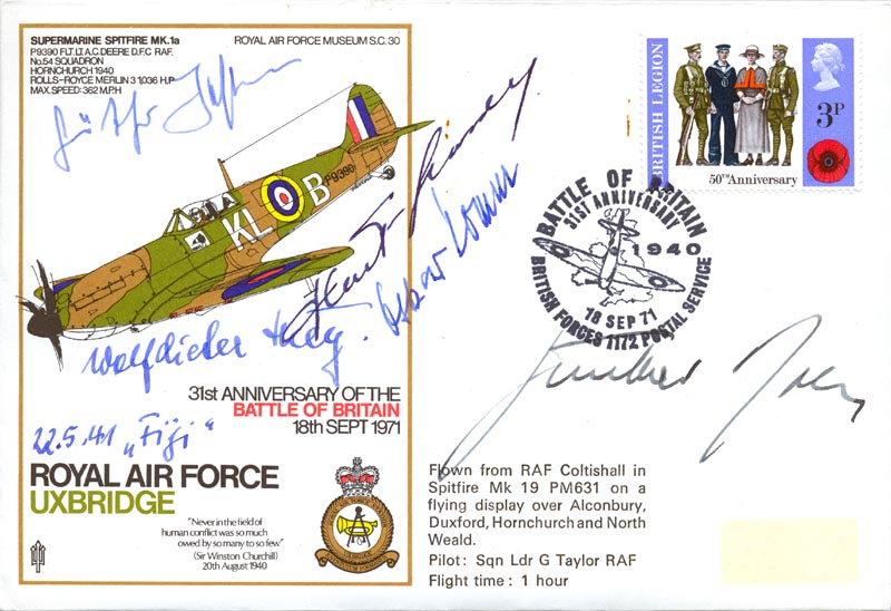 Image 1 for Lt. General Gunther Rall - Commemorative Envelope Signed co-signed by: Captain Wolf-dietrich Huy, Lt. Oskar 'Ossi' Romm, Lt. Gunther Josten - HFSID 74804
