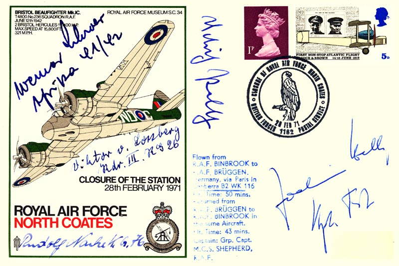 Image 1 for Major General Dietrich 'Dieter' Peltz - Commemorative Envelope Signed with co-signers - HFSID 74806