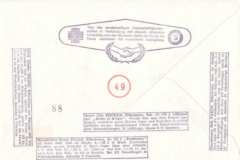 Image 3 for Otto Bertram - Commemorative Envelope Signed co-signed by: Fritz Karch, Gunter Seeger, Bruno Stolle - HFSID 74852