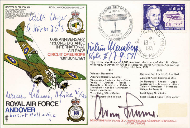 Image 1 for General Adolf Galland - Commemorative Envelope Signed co-signed by: Werner Schroer, Julius Meimberg, Herbert Rollwage, Willi Unger - HFSID 74863