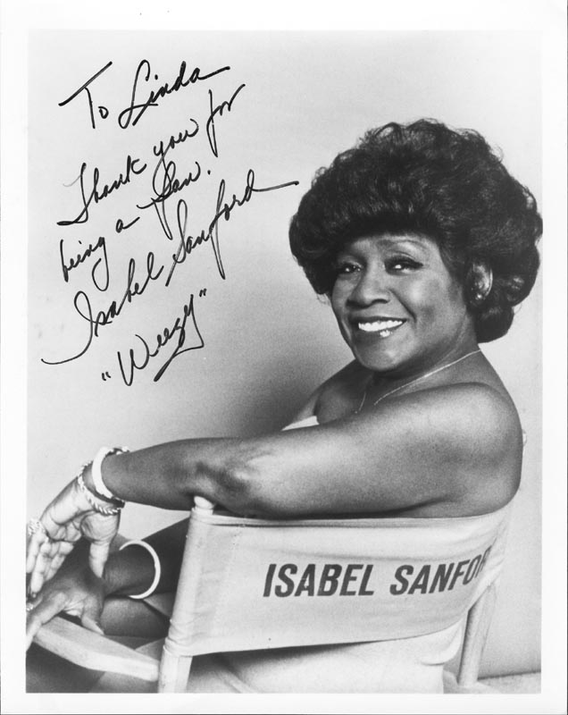 Image 1 for Isabel 'Weezy' Sanford - Autographed Inscribed Photograph - HFSID 75104
