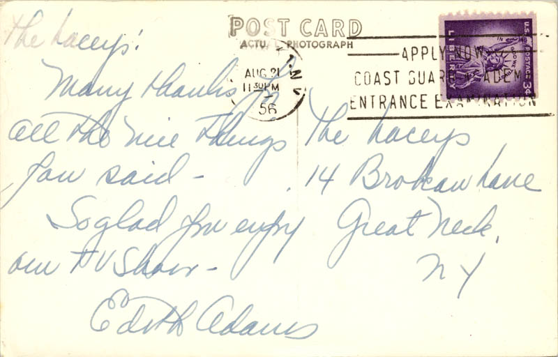 Image 1 for Edie Adams - Autograph Note Signed 08/21/1956 - HFSID 75796