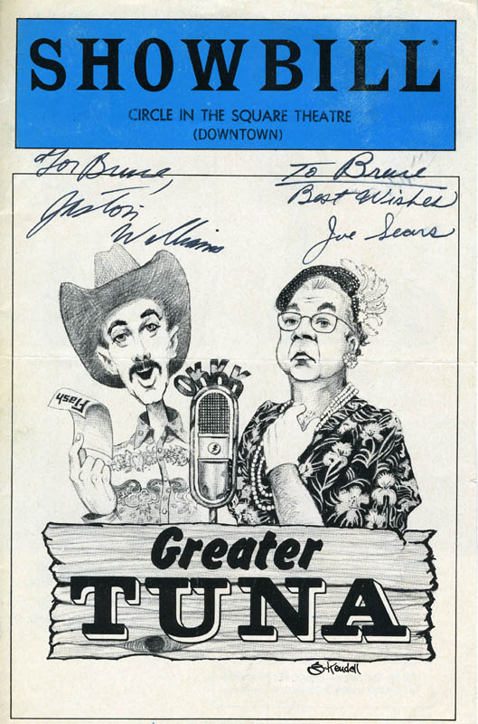 Image 1 for Greater Tuna Play Cast - Inscribed Show Bill Cover Signed co-signed by: Jaston Williams, Joe Sears - HFSID 75830