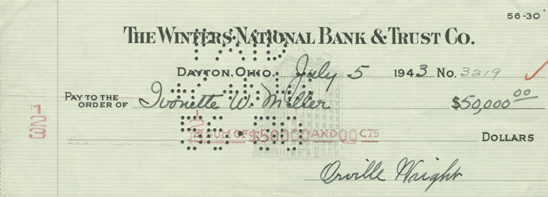 Image 1 for Orville Wright - Autographed Signed Check 07/05/1943 co-signed by: Ivonette Wright-miller - HFSID 7595