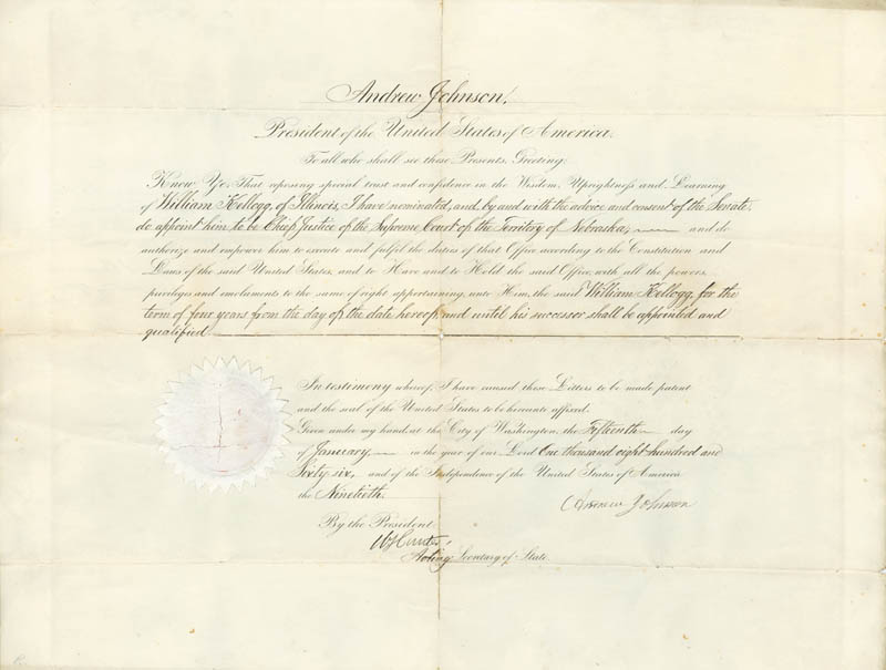 Image 1 for President Andrew Johnson - Civil Appointment Signed 01/15/1866 co-signed by: William Hunter, Algernon S. Paddock - HFSID 76006