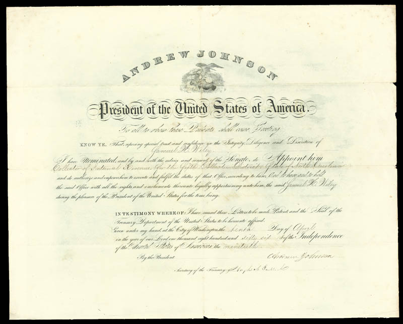 Image 1 for President Andrew Johnson - Civil Appointment Signed 04/10/1866 co-signed by: Hugh Mcculloch - HFSID 76152