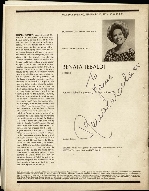 Image 1 for Renata Tebaldi - Inscribed Program Signed Circa 1973 - HFSID 76153