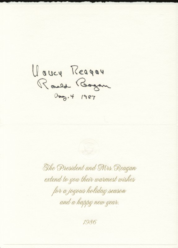 Image 1 for President Ronald Reagan - White House Christmas Card Signed 08/04/1987 co-signed by: First Lady Nancy Davis Reagan - HFSID 76187