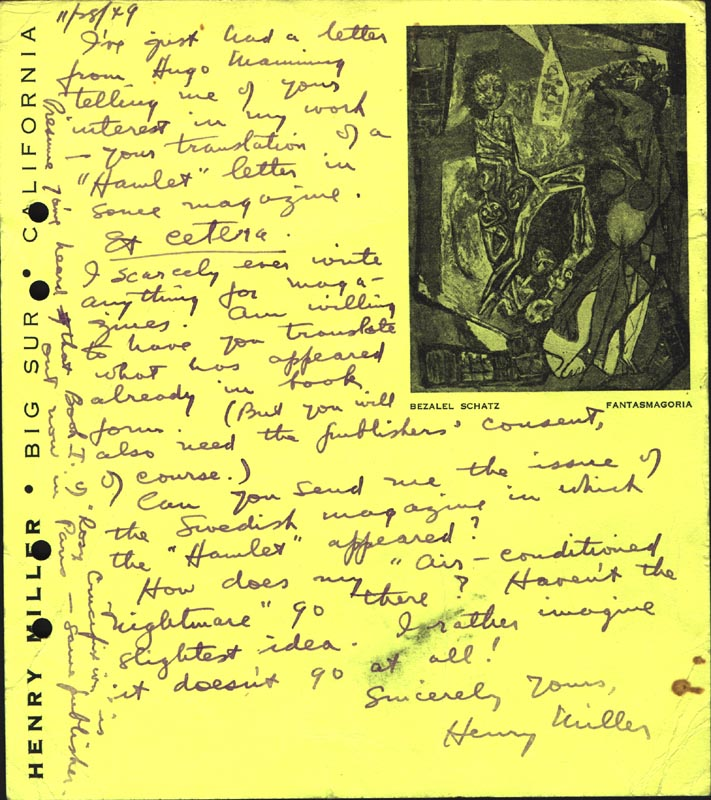 Image 1 for Henry Miller - Autograph Note Signed 11/28/1949 - HFSID 76263