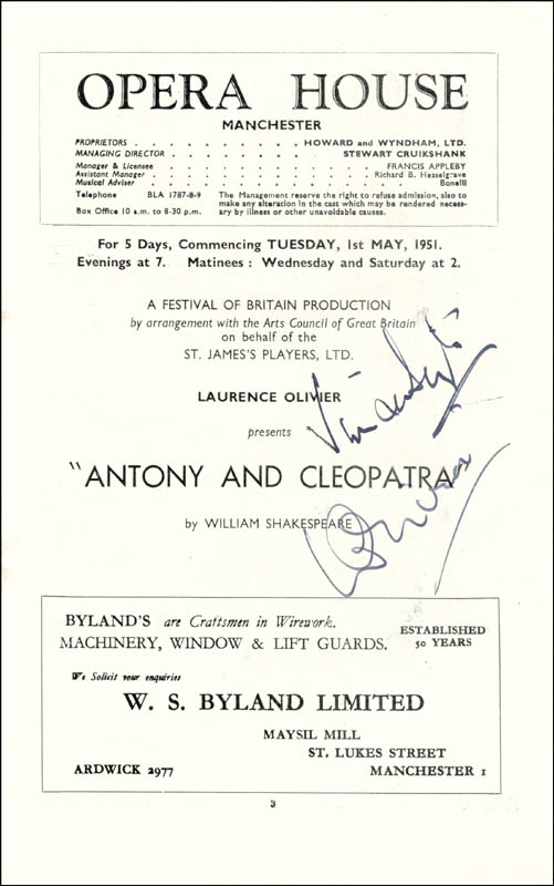 Image 1 for Antony And Cleopatra Play Cast - Program Signed Circa 1951 co-signed by: Vivien Leigh, Laurence Olivier - HFSID 76408
