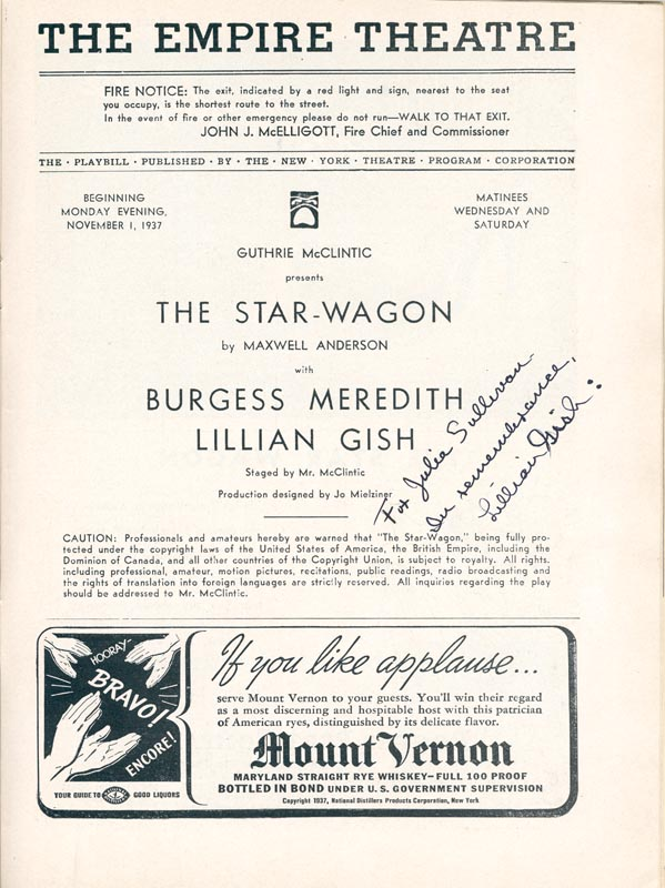 Image 3 for Lillian Gish - Inscribed Show Bill Signed Circa 1937 co-signed by: Burgess Meredith - HFSID 76678