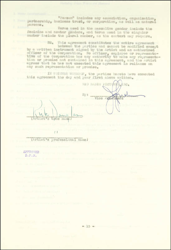 Image 1 for Kirk Douglas - Contract Signed 01/06/1947 - HFSID 77428