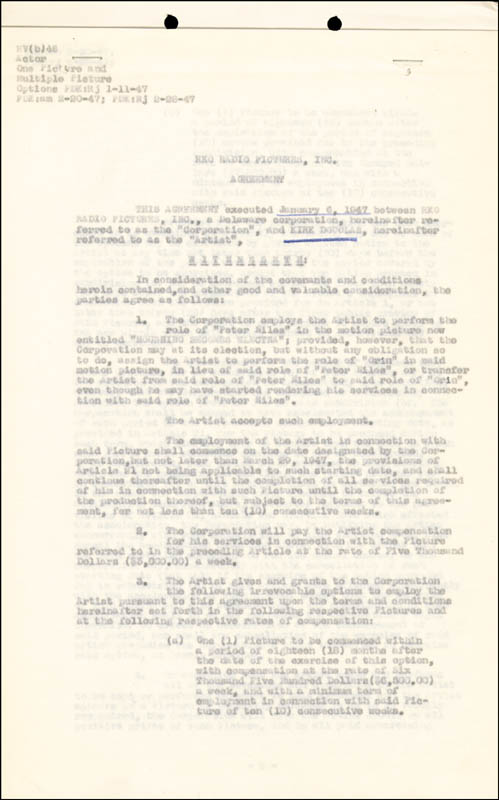 Image 3 for Kirk Douglas - Contract Signed 01/06/1947 - HFSID 77428