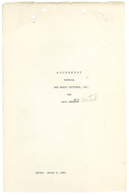 Image 1 for Paul Henreid - Contract Double Signed 03/06/1941 - HFSID 77430