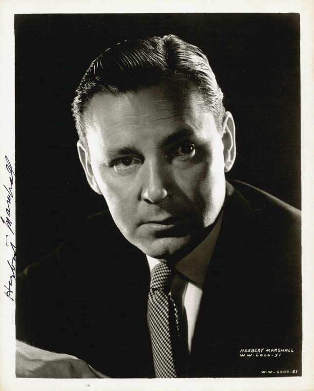 Image 1 for Herbert Marshall - Autographed Signed Photograph - HFSID 78310