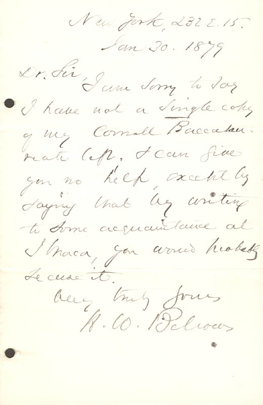 Image 1 for Henry Whitney Bellows - Autograph Letter Signed 01/30/1879 - HFSID 78431