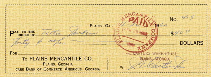 Image 1 for President James E. 'Jimmy' Carter - Autographed Signed Check 04/30/1960 - HFSID 787