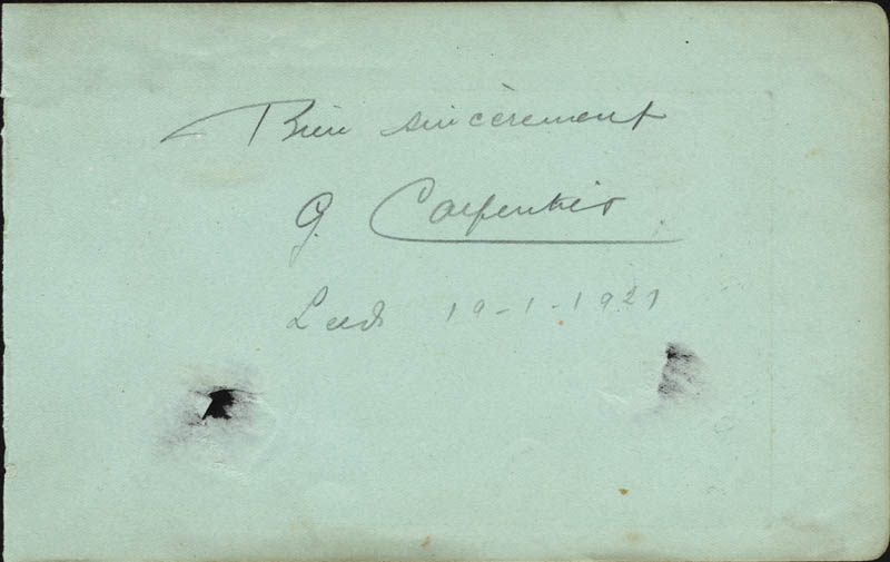 Image 1 for Georges 'Orchid Man' Carpentier - Autograph Sentiment Signed 10/01/1927 - HFSID 78712