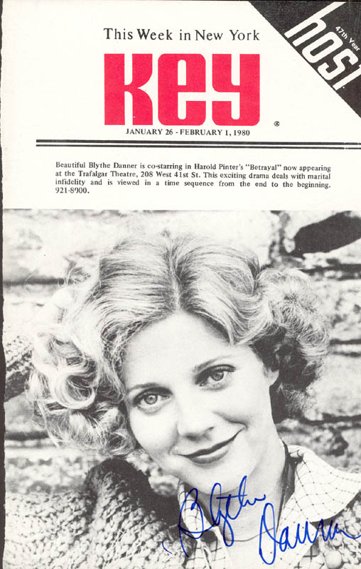 Image 1 for Blythe Danner - Show Bill Cover Signed 1980 - HFSID 78786