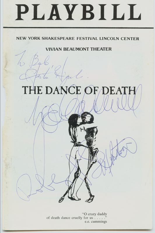 Image 1 for Dance Of Death Play Cast - Show Bill Cover Signed co-signed by: Zoe Caldwell, Alfred Joseph Antoon, Robert Shaw, Hector Eliyard - HFSID 78796