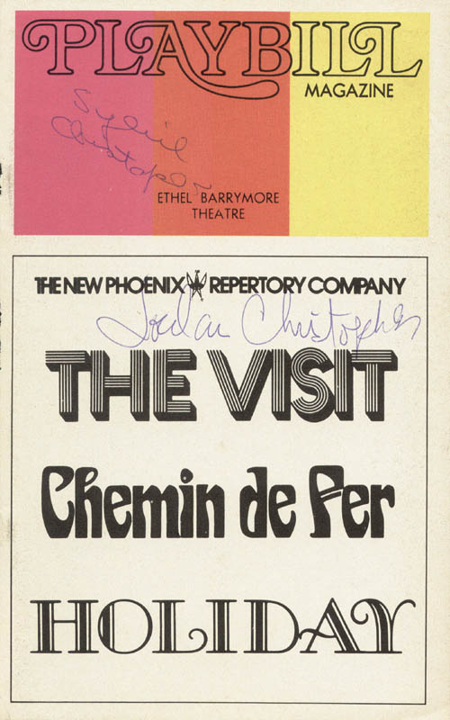 Image 1 for The Visit/Chemin De Fer/Holiday Play Cast - Show Bill Cover Signed co-signed by: Jordan Christopher, Sybil Christopher - HFSID 78821