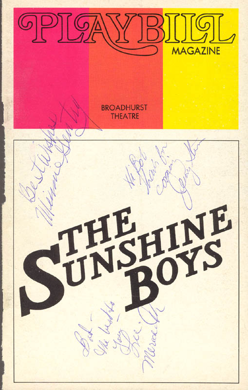 Image 1 for Sunshine Boys Broadway Cast - Inscribed Show Bill Cover Signed co-signed by: Lee Meredith, Minnie Gentry, Jerry Stein - HFSID 78830