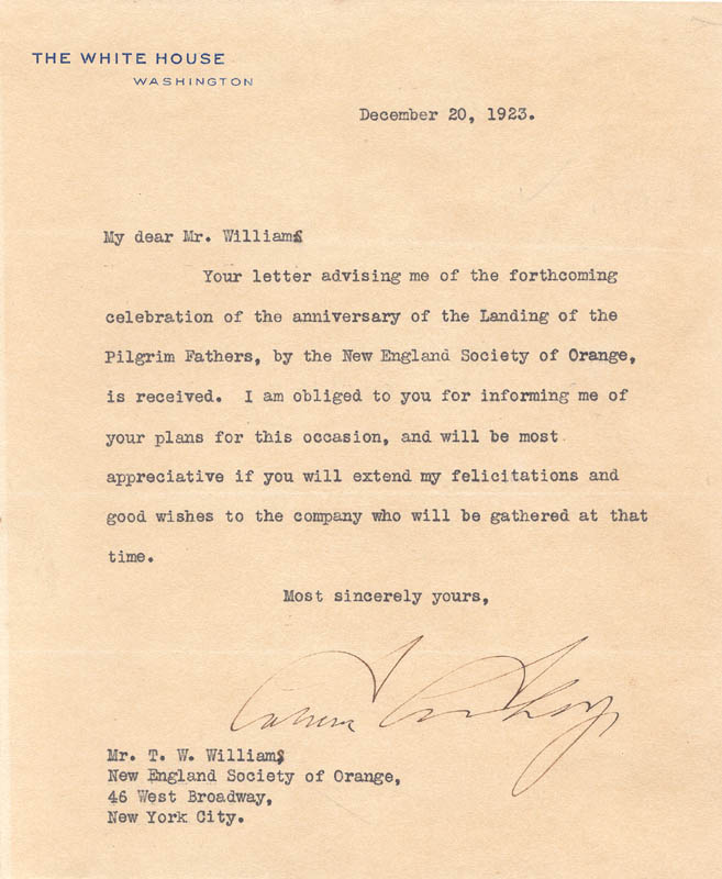 Image 1 for President Calvin Coolidge - Typed Letter Signed 12/20/1923 - HFSID 78881