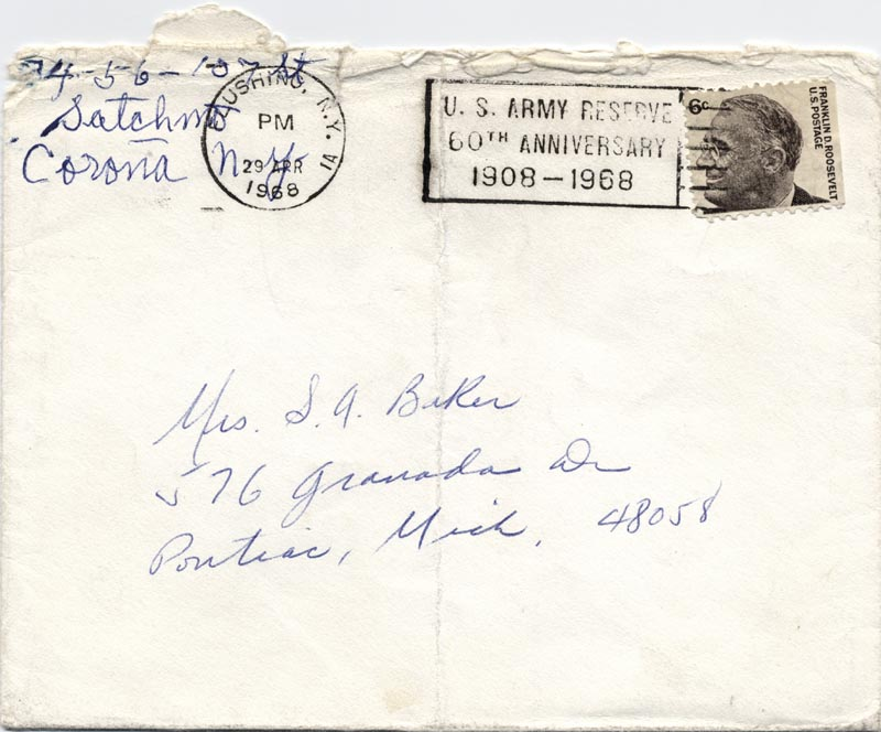 Image 1 for Louis 'Satchmo' Armstrong - Autograph Envelope Signed 04/29/1968 - HFSID 78955