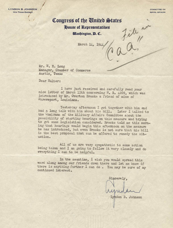 Image 1 for President Lyndon B. Johnson - Typed Letter Signed 03/14/1944 - HFSID 79016