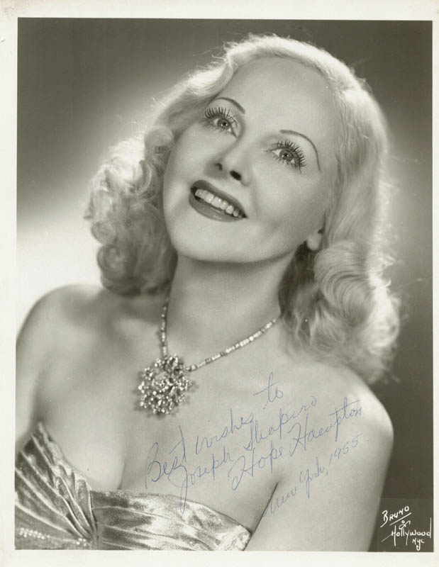 Image 1 for Hope Hampton - Autographed Signed Photograph 1955 - HFSID 79066