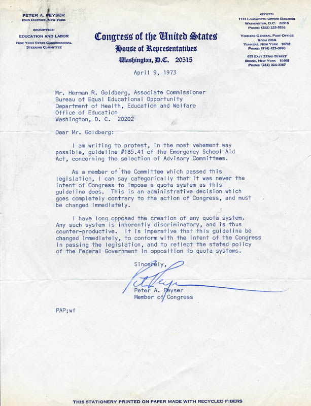 Image 1 for Peter A. Peyser - Typed Letter Signed 04/09/1973 - HFSID 79173