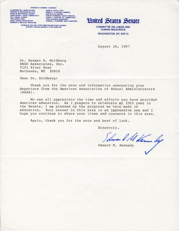 Image 1 for Edward 'Ted' Kennedy - Typed Letter Signed 08/20/1987 - HFSID 79216