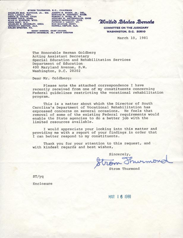 Image 1 for Strom Thurmond - Typed Letter Signed 03/10/1981 - HFSID 79225