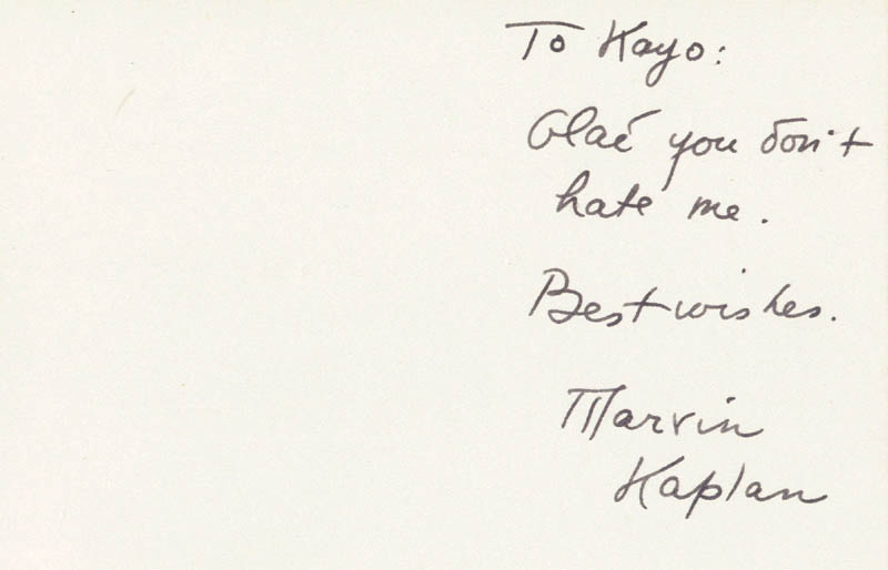 Image 1 for Marvin Kaplan - Autograph Note Signed - HFSID 79324