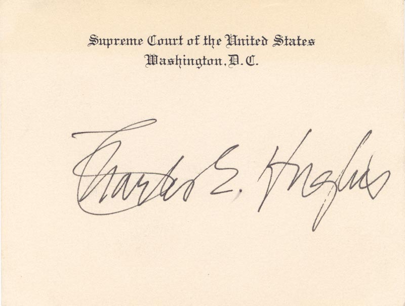 Image 1 for Chief Justice Charles E Hughes - Supreme Court Card Signed - HFSID 79457