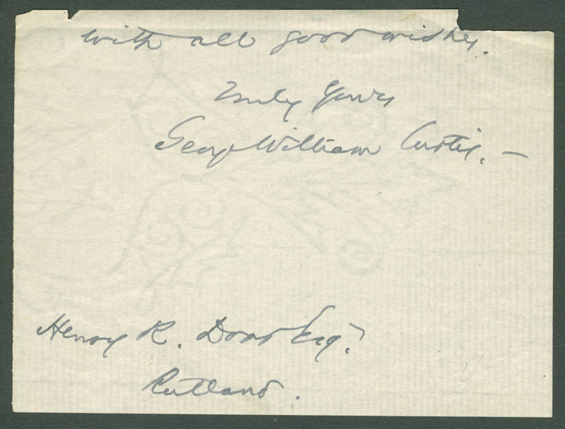 Image 1 for George William Curtis - Autograph Sentiment Signed - HFSID 79500