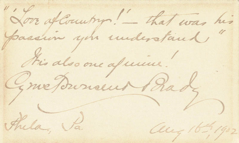 Image 1 for Cyrus Townsend Brady - Autograph Quotation Signed 08/16/1902 - HFSID 79510