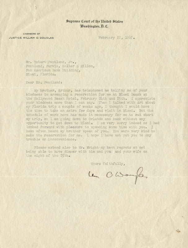 Image 1 for Associate Justice William O. Douglas - Typed Letter Signed 02/22/1947 - HFSID 79591