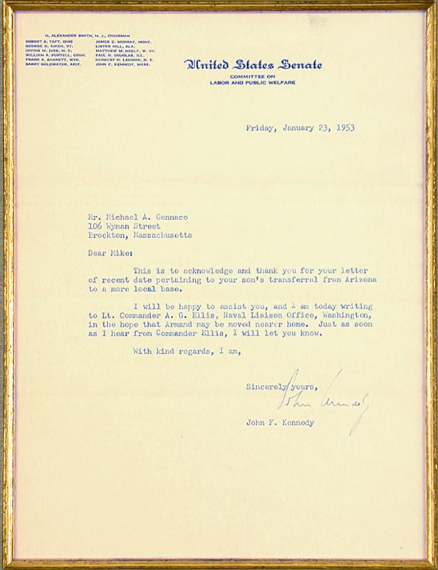 Image 3 for President John F. Kennedy - Typed Letter Signed 01/23/1953 - HFSID 79654