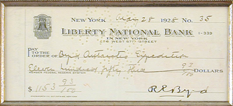 Image 3 for Rear Admiral Richard E. Byrd - Autographed Signed Check 05/28/1928 - HFSID 79711