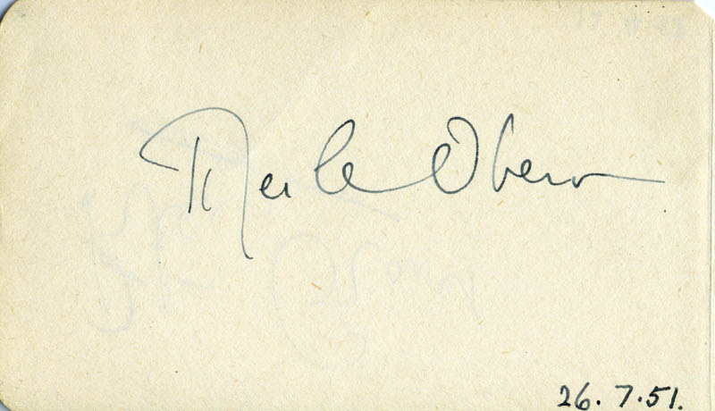 Image 1 for Merle Oberon - Autograph 07/26/1951 co-signed by: Peter Graves - HFSID 79936